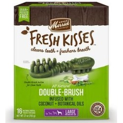 Merrick Fresh Kisses Infused with Coconut Oil & Botanicals Large Dental Dog Treats, 16 count