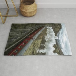Red Wizard Steam Train In The Scottish Highlands - Landscape Photography Modern Throw Rug by Michael Schauer - 2' x 3' found on Bargain Bro from Society6 for USD $27.93