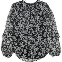 Ralph Lauren Womens Floral Ruffled Blouse, Black, Large (Black - L), Women's(polyester) found on Bargain Bro India from Overstock for $55.19