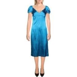 Alexis Womens Cadiz Cocktail Dress Silk Puff Sleeves - Capri Blue - M (Capri Blue - M), Women's found on MODAPINS from Overstock for USD $108.69