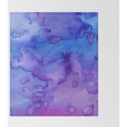 Throw Blanket | Blue Purple Pink Hand Painted Watercolor Pattern by Pink Water - 51