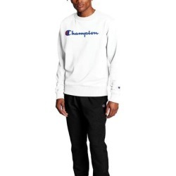 Champion Men's Script Logo Powerblend Crew (Size S) White, Cotton,Polyester,Spandex found on Bargain Bro Philippines from ShoeMall.com for $44.95