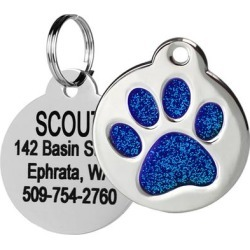 GoTags Personalized Glitter Blue Paw Print Stainless Steel Round Pet ID Tag for Dogs and Cats, Small found on Bargain Bro Philippines from petco.com for $9.95