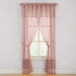 Wide Width BH Studio Sheer Voile 5-Pc. One-Rod Curtain Set by BH Studio in Pale Rose (Size 96