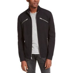 INC Men's Jacket Deep Black Size 2XL Front-Zip Ribbed Quilted-Sleeve (2XL)(cotton)