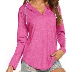 Women's Hooded Long Sleeve T Shirt V Neck Tunic Tops Casual Tees Loose Sweatshirts found on Bargain Bro India from Overstock for $28.83