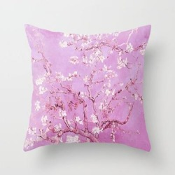 Throw Pillow   Vincent Van Gogh Almond Blossoms. Pink Lavender by Purevintagelove - Cover (16