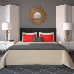 Diamond Tufted Wales Black Headboard found on Bargain Bro from Overstock for USD $179.73