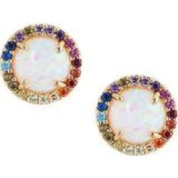 Yeidid International Women's Earrings - Opal & 10K Gold Halo Stud Earrings found on Bargain Bro India from zulily.com for $79.99