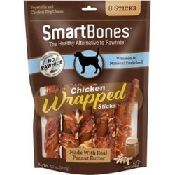 SmartBones Chicken Wrapped Sticks Peanut Butter Flavor Dog Treats, 8 count found on Bargain Bro from Chewy.com for USD $6.09