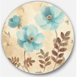 East Urban Home 'Blue Poppies Cottage Flowers II' - Painting Print on Metal Circle in Brown/White, Size 11.0 H x 11.0 W x 1.0 D in   Wayfair found on Bargain Bro Philippines from Wayfair for $55.99