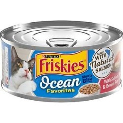 Friskies Ocean Favorites Meaty Bits Salmon, Shrimp & Brown Rice Wet Cat Food, 5.5-oz can, case of 24 found on Bargain Bro from Chewy.com for USD $11.86
