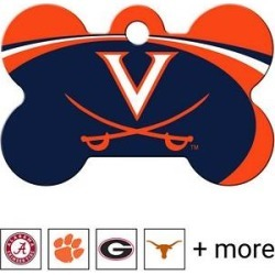 Quick-Tag NCAA Bone Personalized Dog ID Tag, Large, Virginia Cavaliers