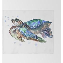 """Sea Turtle, Green Blue, Sea Turtle Under Water, Sky Blue Bed Throw Blanket by Surenart - 51"""" x 60"""" Blanket"""