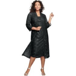 Plus Size Women's Lace & Sequin Jacket Dress Set by Roaman's in Black (Size 20 W) found on Bargain Bro Philippines from fullbeauty for $169.99