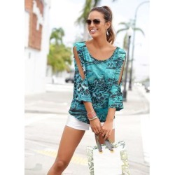 Printed Slit Detail Top Tops - Blue/Multi found on Bargain Bro from Venus.com for USD $21.27
