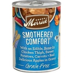 Merrick Grain Free Wet Dog Food Smothered Comfort, 12.7-oz can, case of 12