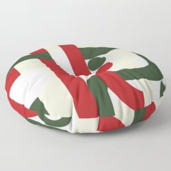 Floor Pillow | Geometric Green Red Abstract Mid Century by Carolsalazar - ROUND - 30