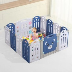 14-Panel Foldable Baby Fence Playpen Kids Activity Centre Safety Play Yard W/Crawling Mat - 14 Panels
