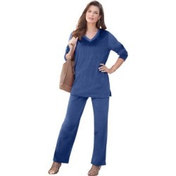 Plus Size Women's Velour Jogger Set by Roaman's in Twilight Blue (Size 18/20) found on Bargain Bro Philippines from fullbeauty for $84.99