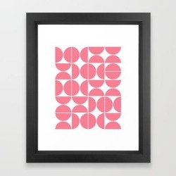 Framed Art Print   Mid Century Modern Geometric 04 Pink by The Old Art Studio - Vector Black - X-Small-10x12 - Society6 found on Bargain Bro India from Society6 for $37.59