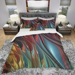 Designart 'Leaves of Color' Modern & Contemporary Bedding Set - Duvet Cover & Shams (King Cover + 2 king Shams (comforter not included)), Red, DESIGN found on Bargain Bro from Overstock for USD $95.75