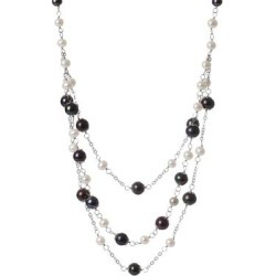 6-10mm Multicolor Freshwater Pearl Triple Strand Necklace - Metallic - Splendid Necklaces found on Bargain Bro from lyst.com for USD $91.20