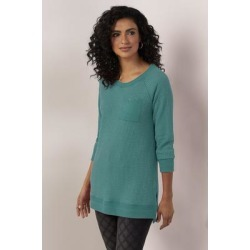 Women Autumn Waffle T-Shirt by Soft Surroundings, in Spruce Green size 1X (18-20)