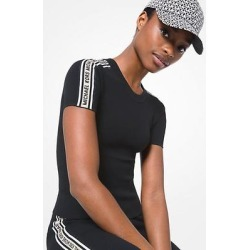Michael Kors Logo Tape Textured Knit Short-Sleeve Sweater Black S found on MODAPINS from Michael Kors for USD $105.00
