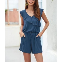 Floral Blooming Women's Rompers Blue - Blue Pocket Ruffle-Accent Drawstring-Waist V-Neck Romper - Women found on Bargain Bro India from zulily.com for $16.99