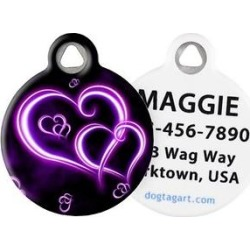 Dog Tag Art Neon Purple Hearts Personalized Dog & Cat ID Tag, Large