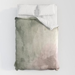 Comforters | Abstract Blush Pink Green White Watercolor Brushstrokes by Pink Water - Queen: 88