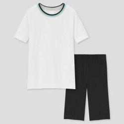 UNIQLO Kid's Airism Cotton Blend Short-Sleeve Set, Off White, 4Y(110) found on Bargain Bro from Uniqlo for USD $6.00