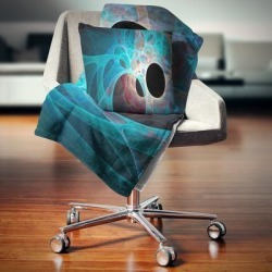 Designart 'Fractal Angel Wings in Blue' Abstract Throw Blanket found on Bargain Bro from Overstock for USD $40.69