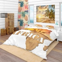 Designart 'Africa Map Wooden Illustration' Tropical Bedding Set - Duvet Cover & Shams (Full/Queen Cover +2 Shams (comforter not included)), Brown, found on Bargain Bro India from Overstock for $129.49