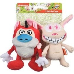 Fetch For Pets Nickelodeon Ren & Stimpy Squeaky Plush Dog Toys, 2 count