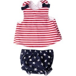 Caught Ya Lookin' Girls' Bloomers Red - Red Stripe Crisscross-Back Tank & Navy Star Bloomers - Infant found on Bargain Bro India from zulily.com for $39.99