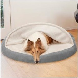 FurHaven Faux Sheepskin Snuggery Orthopedic Cat & Dog Bed w/Removable Cover, Gray, 44-in found on Bargain Bro India from Chewy.com for $78.99