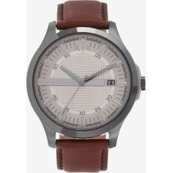 Three Hand Brown Leather Watch - Metallic - Armani Exchange Watches found on Bargain Bro India from lyst.com for $160.00