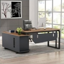 Tribesigns L-Shaped Desk with File Cabinet, 55 Inch Executive Office Desk - Walnut (Walnut), Brown found on Bargain Bro Philippines from Overstock for $299.99