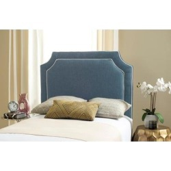Safavieh Dane Denim Blue/ White Piping Upholstered Headboard (Twin) found on Bargain Bro Philippines from Overstock for $278.49