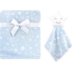 Hudson Baby Boys' Lovey Blankets Star - Blue Star Security Blanket & Swaddling Blanket