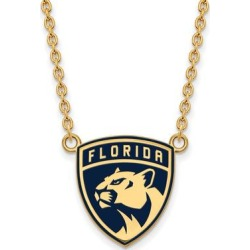Sterling Silver with Gold Plating NHL LogoArt Florida Panthers Large Enamel Pendant with Necklace by Versil (White - Size: 18 Inch), Women's found on Bargain Bro Philippines from Overstock for $86.94