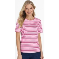 Women's Short-Sleeve Parfait Tee, Hot Pink Stripe L Misses found on Bargain Bro from Blair.com for USD $11.39