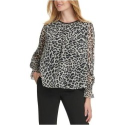 DKNY Womens Beige Animal Print Long Sleeve Blouse Top Size XL (Beige - XL), Women's(knit) found on Bargain Bro India from Overstock for $22.98