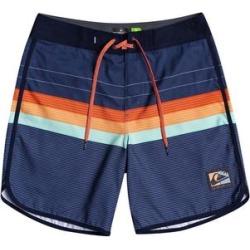 Quiksilver Boys' Swim Briefs Unknown - Navy & Orange Stripe Logo Boardshorts - Toddler