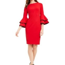 Calvin Klein Womens Sheath Dress Red Size 6 Piped Tiered Bell-Sleeve (6), Women's(polyester) found on Bargain Bro Philippines from Overstock for $43.98