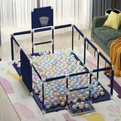 Home House Baby Playpen Portable Safety Play CenterPlastic, Size 43.3 H x 74.8 W x 50.8 D in   Wayfair YWB-WFCJX0142-02-c found on Bargain Bro Philippines from Wayfair for $72.99