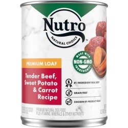 Nutro Premium Loaf Tender Beef, Sweet Potato & Carrot Recipe Adult Canned Wet Dog Food, 12.5 oz.