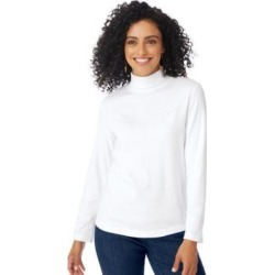 Women's Plus Embroidered Crest Knit Turtleneck, White XL found on Bargain Bro Philippines from Blair.com for $10.99